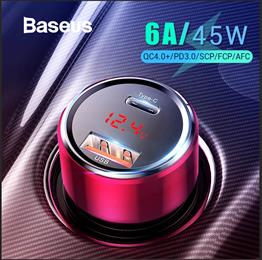 Baseus 45W Quick Charge 4.0 3.0 USB Car Charger Fast PD USB C Car Phone Charger