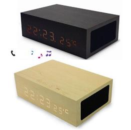 Original Wooden Bluetooth Alarm Clock Stereo Speaker w/ LED Time+Tempera...