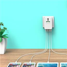20W Power Plug Travel Converting Adapter Surge Protector with 4 USB Charging Ports