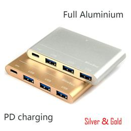 Gold USB Type C to HUB USB 3.0 Adapter 3 Ports USB3.0 Support Charging USB-C PD Converter MacBook Type C HUB USB