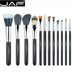 JAF 12pcs High Quality Make Up Brush Set Leather Case with Zipper Professional Cosmetic Beauty Makeup Brushes Tools J1203MYZ-B