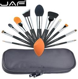 JAF Professional 12 PCS Makeup Brushes Tool Set Unique Fuctions Cosmetic Complexion Sponge Polyester Zipper Case J1209MYZ-B