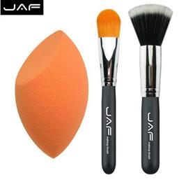 JAF 3 pcs Kit of Makeup Foundation Brush Set Stippling Brush Base Make Up Blender Sponge Classic Foundation Brush PF04SET