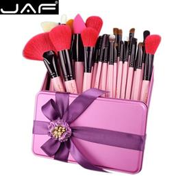 JAF 32 PCS Pink Makeup Brush Set Red Natural Goat Hair Makeup Brushes in...