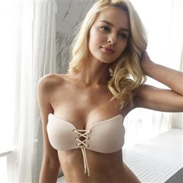 Lace Up Nude Breast Petals Spandex Bare Lift Bra Reusable Women Intimates