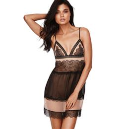 Lace Mesh Sexy Mesh Pyjama Sleeveless Pijama Home V-neck Homewear Nightgown Tops