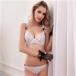 Embroidery Deep V Women's Underwear Underwire Fancy 3/4 Cup