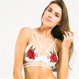 White Floral Printed Bra Women Sexy Push Up Embroidery Wireless Female Bralette Underwear