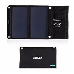 AUKEY 14W Solar Charger with Dual USB Port for Apple iPhone, Android Foldable, Portable