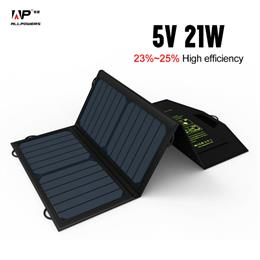 Portable Solar Charger 5V 21W Foldable Solar Power Dual USB Output Charger for Phones