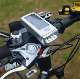 Bicycle Headlight 4 LED Solar Power USB Cable Rechargeable Front Light Waterproof Mount