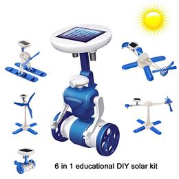 New 6 in 1 DIY solar toy kit robot windmill plane car educational solar power Kits