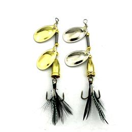 5PC Feather Hooks Sequin Artificial Bass Spinner Bait Carp Fishing