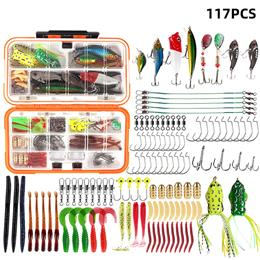 117Pcs/lot Fishing Lure Kit Mixed Soft Worm Lure Carp Jig Hooks Fishing ...