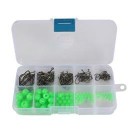 180pcs Luminous Beads Fishing Hook Set  Fishing Space Beans Round Float Balls t0010