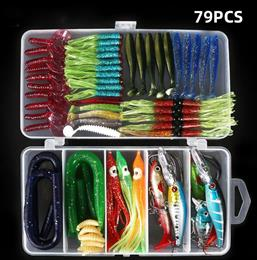 79Pcs/lot Fishing Lure Kit Mixed T tail Soft Worm Lure Earthworm Carp Ji...