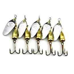5pcs Spoon Fishing Lure 7cm 8.7g Sequins Fishing Spoon Lure Metal Jiggin...