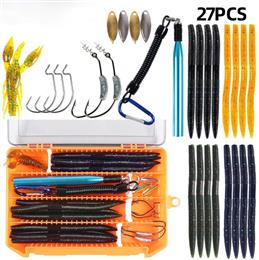 27Pcs/lot Earthworm Fishing Lure Kit Mixed