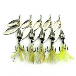 5pcs 10G Long Shot Fishing Lure Shine Metal Flying Lure Peche With Feather Gear Bait