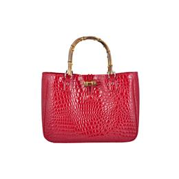 New City Women tote Bamboo handle Red and Black