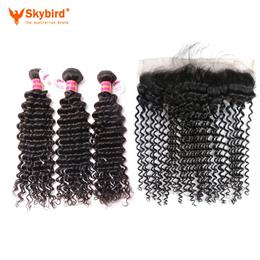 "12""/10""  4Pcs Skybird Human Hair Bundles With Closure 3 Bundles Brazilian Deep Wave With Closure Virgin Hair"