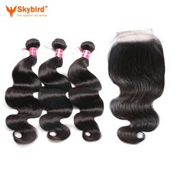 "12""/10""  Skybird Hair 3pcs Brazilian Body Wave Virgin Hair With A Lace Closure Free Part Pre-Plucked Natural hairline"