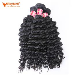 18inches Skybird Hair Products Deep Wave Virgin Brazilian Hair Bundles Natural Color