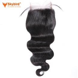 12inches Skybird Hair Brazilian Body Wave Lace Closure Remy Hair Bundles 4x4 Swiss Lace