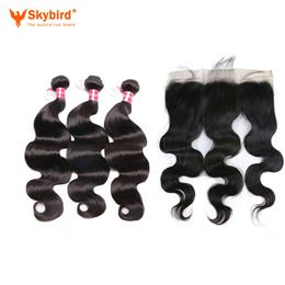 "16""/14"" Skybird Human Hair Virgin Hair Brazilian Body Wave Lace Frontal Closure With Bundles"
