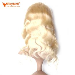 18 inches Skybird Hair Products Body Wave Virgin Hair 613 Pre-Plucked 360 Lace Frontal Closure With Adjustment
