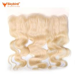 16 inches Skybird Hair Products Body Wave Virgin Hair Lace Frontal 613 Color 13x4 Swiss Lace Brazilian Human Hair Closure