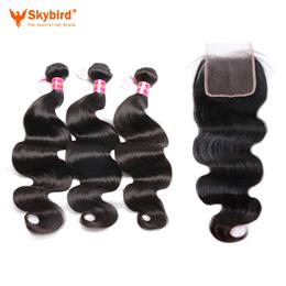 "18""/16"" Skybird Hair 3pcs Brazilian Body Wave Virgin Hair With A Lace Closure Free Part Pre-Plucked Natural hairline"