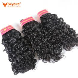 "18"" Skybird Brazilian Water Wave Human Hair Weave Bundles  Virgin Hair Extensions Extensions  Natural Color"