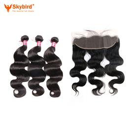 "22""/20"" Skybird Human Hair 3 Bundles Virgin Hair Brazilian Body Wave Closure Ear To Ear Lace Frontal Closure With Bundles"
