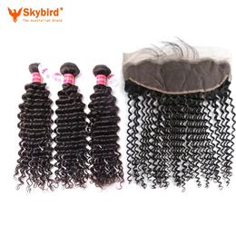 "18""/14"" 4pcs Skybird Hair Human Hair Bundles With Closure 3 Bundles Brazilian Deep Wave With Bundles Virgin Hair"