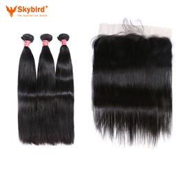 "14""/12"" Skybird Hair Ear To Ear Lace Frontal Closure With 3 Bundles Brazilian Straight Human hair Weaves With Closures Remy Hair"