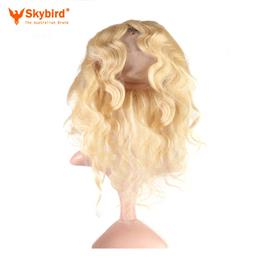 14 inches Skybird Hair Products Body Wave Virgin Hair 613 Pre-Plucked 360 Lace Frontal Closure With Adjustment