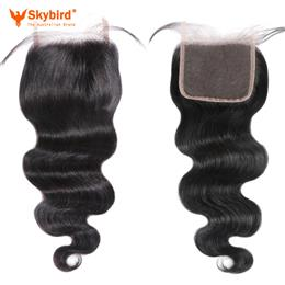 16inches Skybird Hair Brazilian Body Wave Lace Closure Remy Hair Bundles 4x4 Swiss Lace