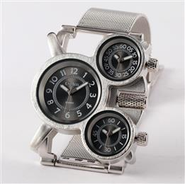 Luxury Watch Silver Full Stainless Steel 3 Time Zone Japanese Movement Quartz Men Wristwatches
