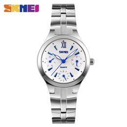 SKMEI Quartz Watches Women Dress Watch Stainless Steel Band Lady Wristwatches