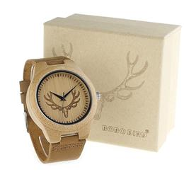 BOBO BIRD M08 Mens Deer Head Design Buck Bamboo Wooden Watches soft Leather Strap Quartz Watch