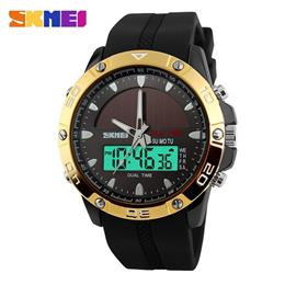 SKMEI Men Solar Dual Display Wristwatches Digital Sport Watch Chronograph Quartz Watches