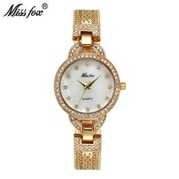 Woman Small Watch Cute Women Gold Watches Fashion Steel Mesh Rhinestone Sweet Quartz Watch