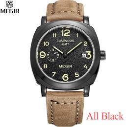 Mens Watches Top Brand Luxury Leather Quartz Military Watches Men Luminous Wristwatch