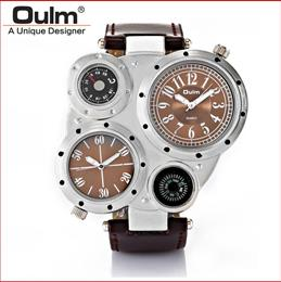 Multiple Time Zone Japan Quartz Movement Men Sport Compass Decoration Leather Strap Military Watch
