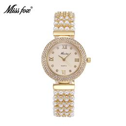 Women Nature Pearl Watch Stainless Steel Back Water Resistant Gold Watch Quartz Diamond Timepiece