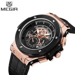 Men Watch Leathter Chronograph Military Watches Sports Quartz Wristwatches