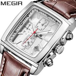 MEGIR Original Watch Men Quartz Military Watches Genuine Leather Dress Wristwatch Mens Clock