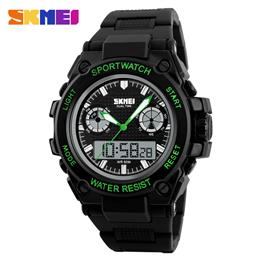 SKMEI Men Sports Watches LED Dual Display Quartz Digital Watch Big Dial Wristwatches