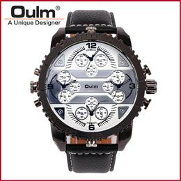Fashion Quartz Luxury Watches 4 Time Zone watches Men Leather Military Watch for Men Wristwatches